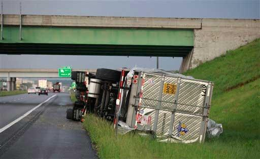 Semi-Truck pushed over by the strong winds.