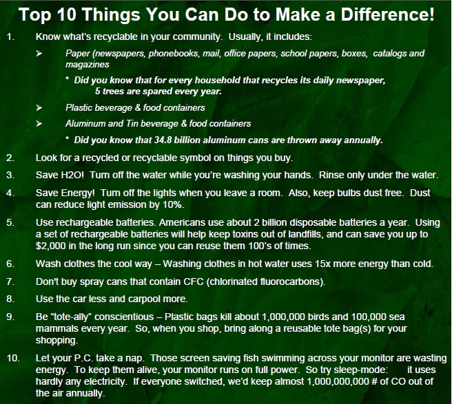 Top 10 Things You Can Do to Make a Difference