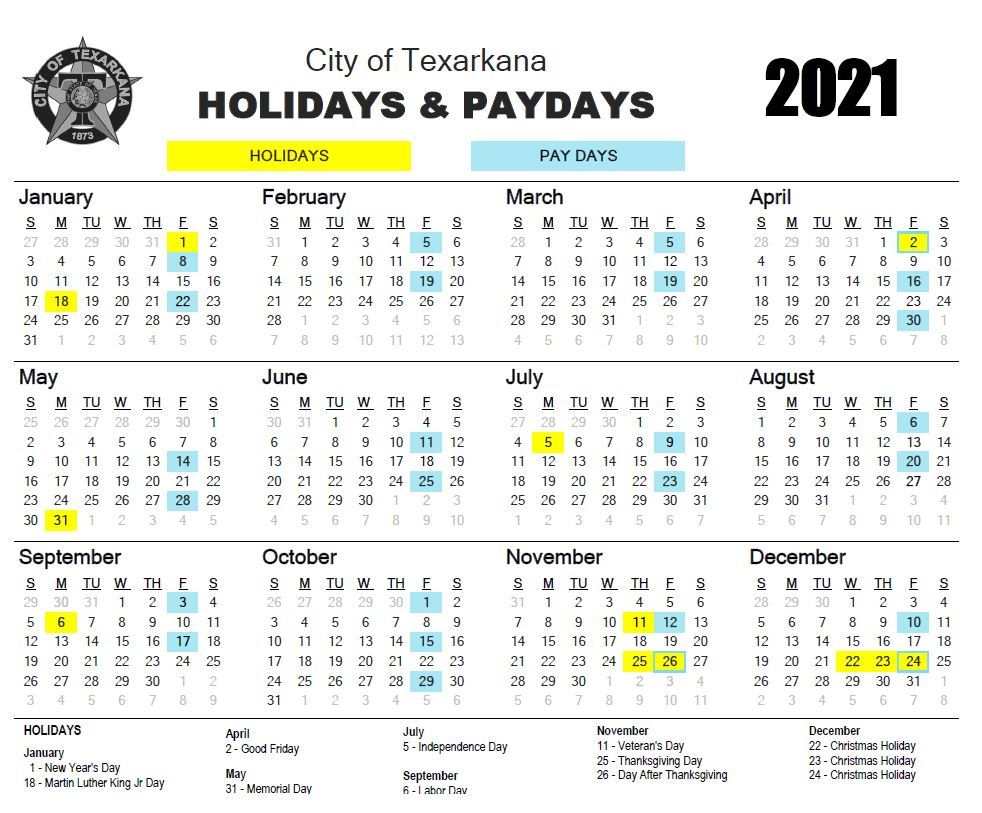 2021 Holiday/Pay Day Calendar