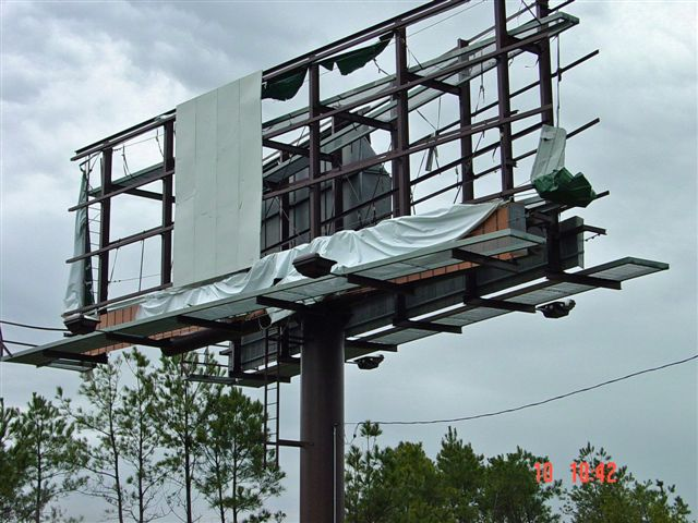 Billboard had its ad blown off during the storm.