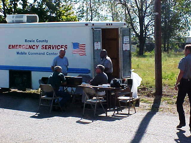 Emergency Services mobile command center set up for police.