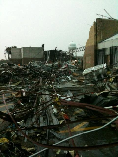 Large amount of debris, taken from its building in the tornado.
