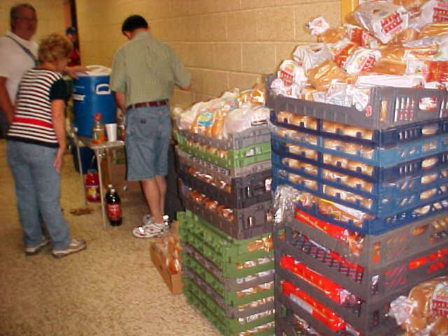Supplies piled up in the shelter.